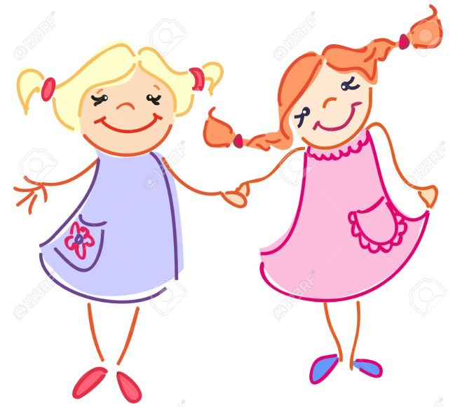 15906433-The-little-two-girls-have-got-a-friendship-Stock-Vector-cartoon-birthday