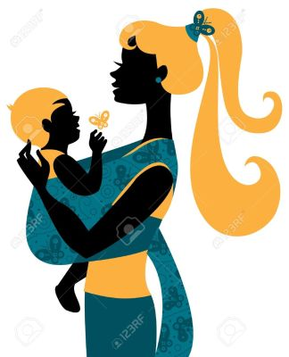 16200961-Beautiful-mother-silhouette-with-baby-in-a-sling-Stock-Vector-mom